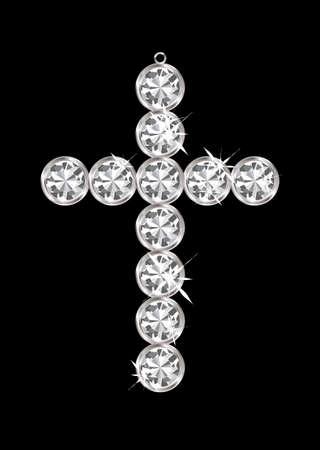 Silver diamond cross relgious pendant with black background Stock Photo - 11995967