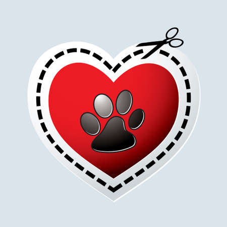 Red love heart with dogs paw print and dotted line photo