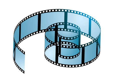 negative film: Old film strip in a spiral curl with blue light
