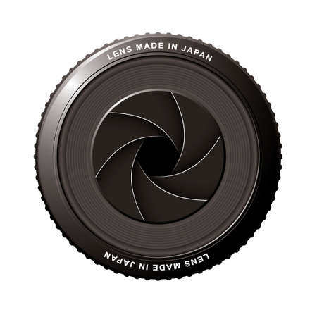 Camera lens with black shutter blades and aperture photo