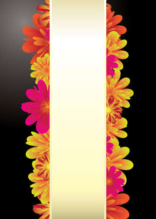 Floral elements on a black background with copy space for text Stock Photo - 11995977
