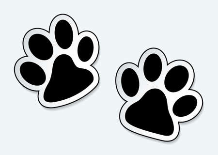dog track: Animal paw prints icons with shadow effect