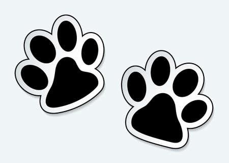 huellas de perro: Pata de animal imprime los iconos con efecto de sombra
