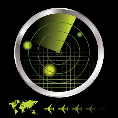sonar: Aerei radar per l'aeroporto con la mappa del mondo e icona del piano Archivio Fotografico
