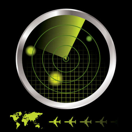 computer control: Aircraft radar for airport with world map and plane icon