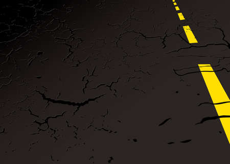 bumpy: Black strip of road side with yellow line and copy space Stock Photo