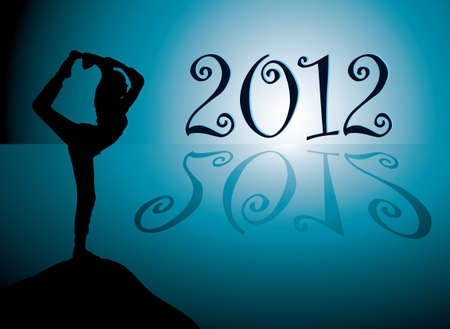 Yoga background with new year 2012 date photo
