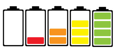 polarity: Simple illustrated battery icon with colourful charge level