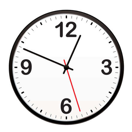 Illustrated clock for telling the time or icon symbol
