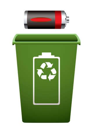 Dead battery with green recycle bin  Standard-Bild