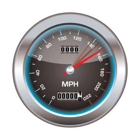 compteur de vitesse: Compteur de vitesse avec l'icône de biseau d'argent et réflexion de la lumière