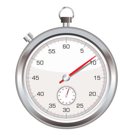 stop hand: Silver stop watch with second hand icon