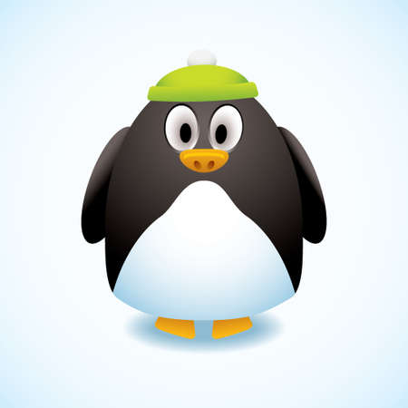 bobble: Cute cartoon penguin with green bobble hat and snow background