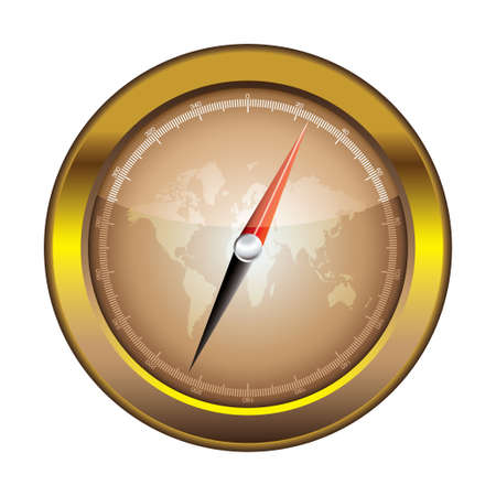 Gold retro compass with world and light reflection illustration illustration