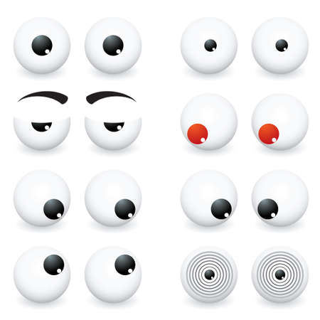 cartoon eyes: Collection of eye ball cartoon in different positions and situations