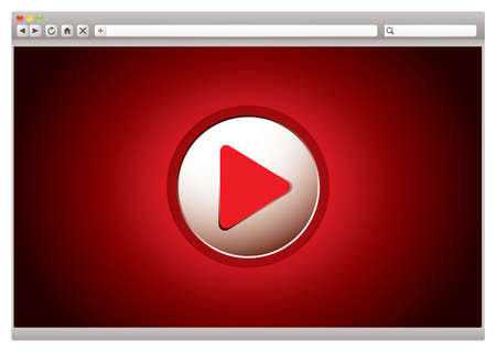 red background to internet video web browser with play button photo