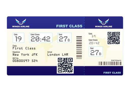 Fake plane ticket with scan smart barcode modern QR code Standard-Bild