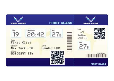passenger airline: Fake plane ticket with scan smart barcode modern QR code Stock Photo
