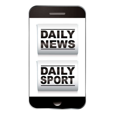 Smart phone with news and sport newspaper icon photo