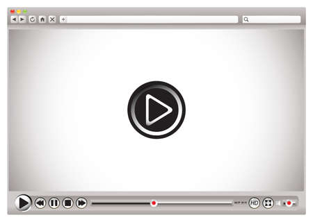 video player: Internet video controls on web browser with play back bar