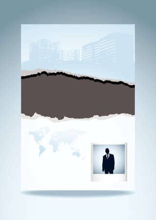 Business paper with torn edge eco icon and instant photograph photo