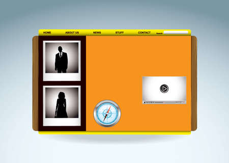 Business web template with silhouette people and video player Stock Photo - 12392395