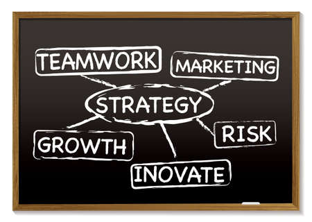 organisation: Business chalk board with strategy work flow concept Stock Photo