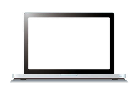 Modern laptop computer with blank white screen Stock Photo - 12852944