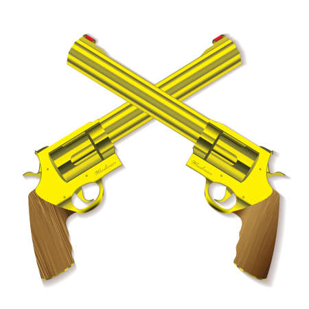cross armed: Old fashioned golden hand guns crossed with background shadow