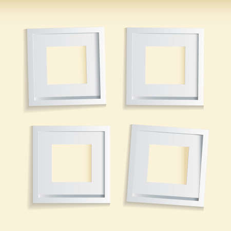 Four modern clean picture frames with beige background photo