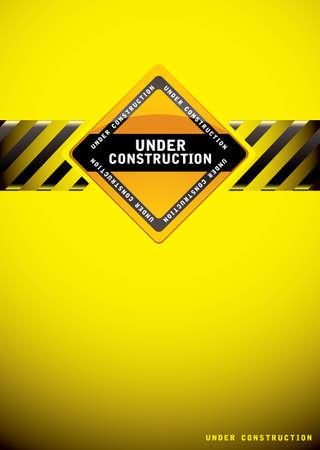 seguridad industrial: Advertencia de color amarillo en el fondo de la construcci�n con el signo y bandera de hash