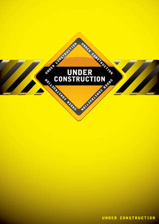 construction icon: Yellow warning under construction background with sign and hash banner Stock Photo