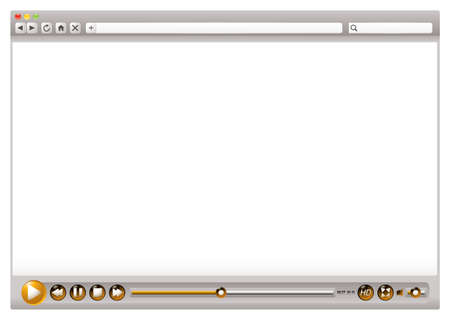 Blank internet web browser with video control buttons