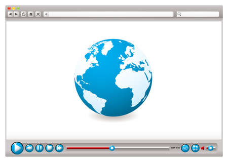 internet browser: World wide web browser with globe and video control buttons