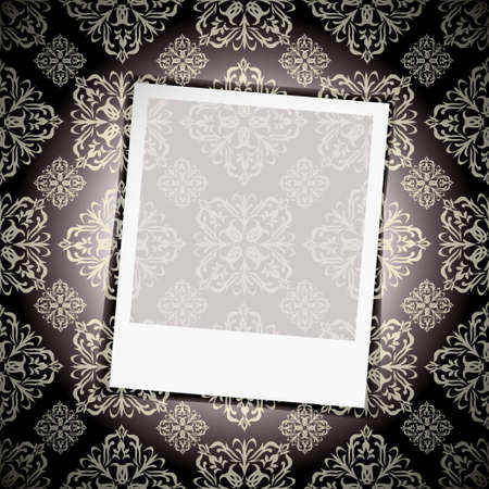 Black floral wallpaper background with instant photograph photo