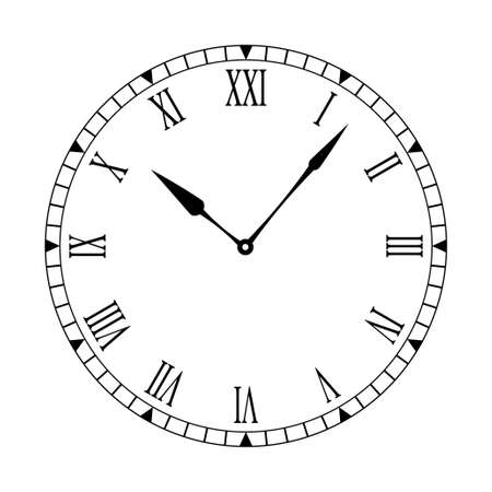 numeros romanos: Reloj en blanco y negro de f�cil lectura y edici�n de las manos Foto de archivo
