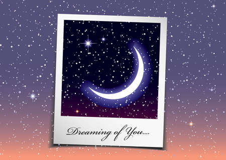 Dreaming of you at night with stars and space background photo