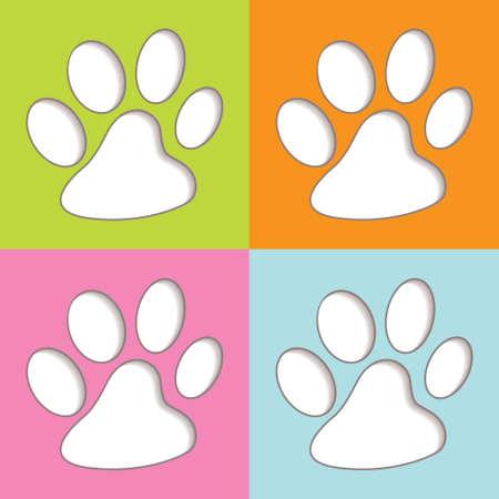animal print: Luminosi colorati divertimento stampa icone animali con ombra Archivio Fotografico