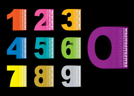 Colourful numbers collection set icons with black background Stock Photo
