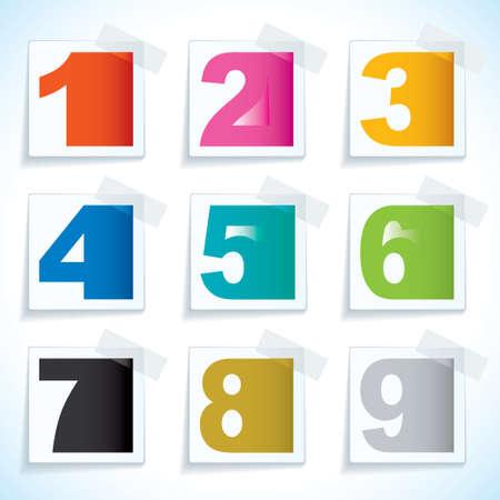 numero uno: Nueve cartulina con cinta adhesiva y los elementos de número