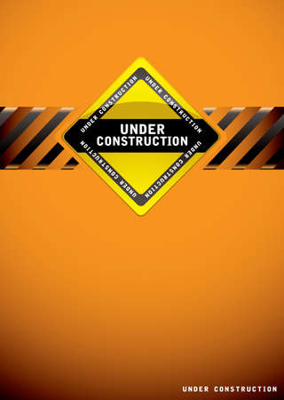 Orange background template for a website construction page Stock Photo - 13348089