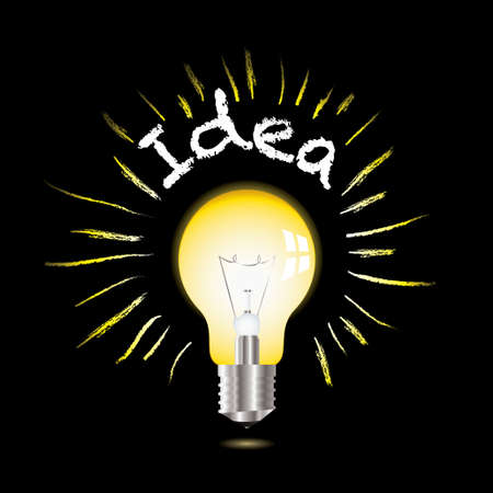 metal light bulb icon: Light bulb on black background with ideas concept inspiration