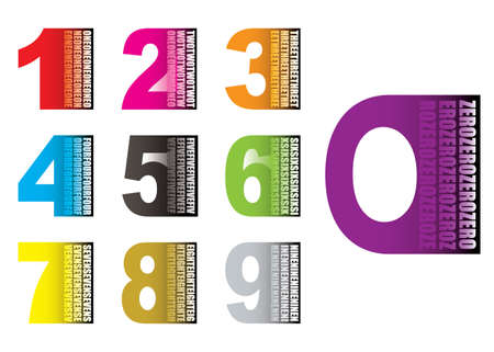 7 9: Collection of brightly coloured numbers with their value written on them