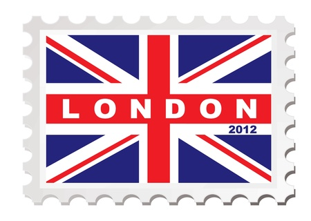 London 2012 stamp concept with union jack flag Stock Photo - 14053710