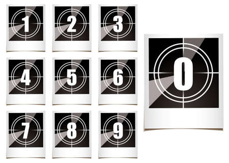 count down: Collection of instant photographs with film type count down numbers
