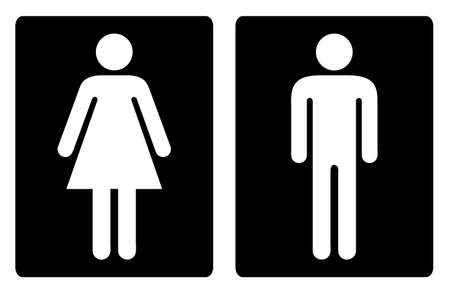 Simple unisex toilet door symbols or signs in black and white Stock Photo - 14053705