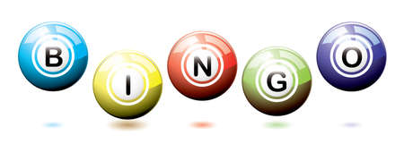 Set of brightly coloured bingo balls bouncing on a white background with shadows photo