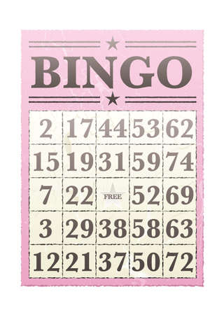 bingo: Pink bingo card with randon numbers and retro style