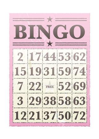 bingo: Pink tarjeta de bingo con números randon y estilo retro Foto de archivo