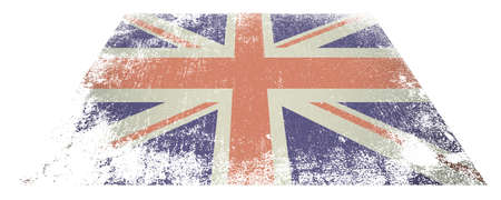 Red white and blue british flag laying flat on white background Stock Photo - 14872336